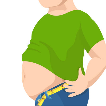 waistline: Abdomen fat, overweight man with a big belly and measure tape around waist against.