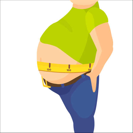 Abdomen fat, overweight man with a big belly and measure tape around waist against.