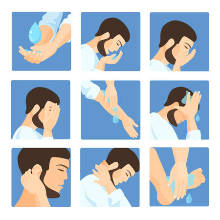 Muslim ablution, purification guide. Step by step position using water. Vector Illustration