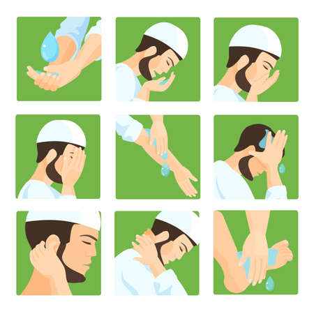 purification: Muslim ablution, purification guide. Step by step position using water. Vector Illustration