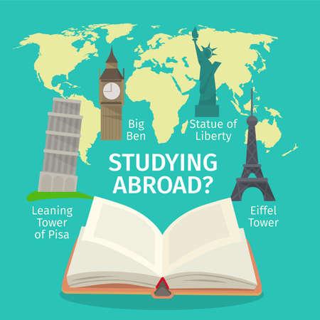 In het buitenland studeren vreemde talen concept. Kleurrijke reizen vlakke stijl afbeelding.