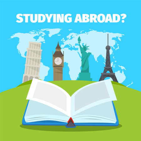 Abroad studying foreign languages concept. Colorful travel flat style illustration. Vettoriali