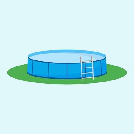 Single above ground pool on the grass. Vectores