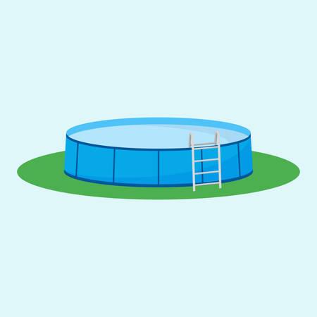 terreno: piscina fuori terra singolo sull'erba. Vettoriali