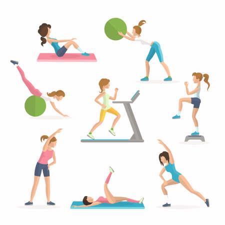 ejercicio aeróbico: ejercicios de la aptitud de los aeróbicos. Dejar caer el exceso de grasa. Las mujeres trabajan en la ilustración vectorial gimnasio Vectores