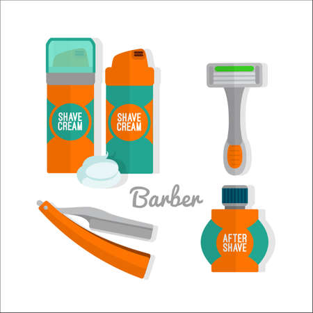 shave: After shave flat icon set. Shaving razor, shaving foam, after shave balm icons.
