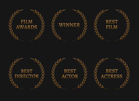 academy: Film academy awards winners and best nominee gold wreaths on black background. Vector illustration Illustration