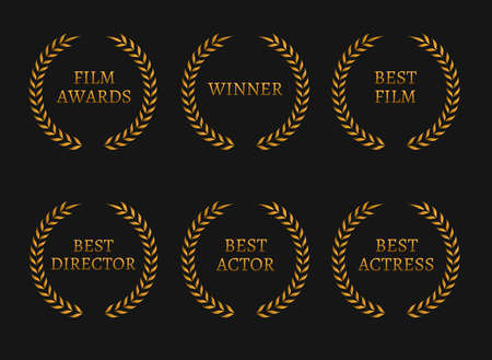 famous actress: Film academy awards winners and best nominee gold wreaths on black background. Vector illustration Illustration