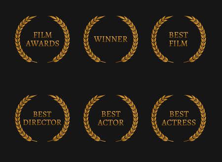 映画アカデミー賞受賞者と最高にノミネートされた黒地に金の花輪。ベクトル図