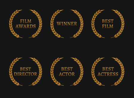 Film academy awards winners and best nominee gold wreaths on black background. Vector illustration Stock Illustratie