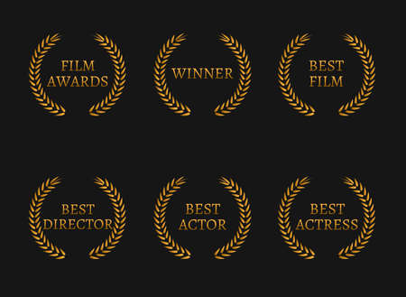 famous actor: Film academy awards winners and best nominee gold wreaths on black background. Vector illustration Illustration