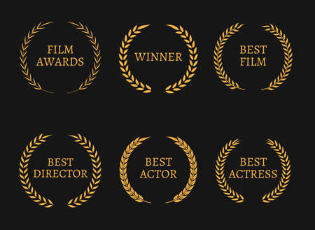 film: Film academy awards winners and best nominee gold wreaths on black background. Vector illustration Illustration