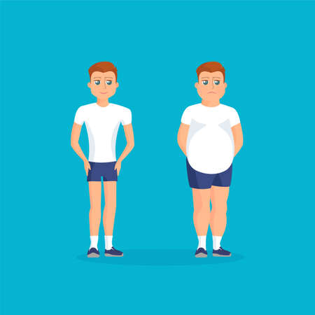 waistline: Man with fat abdomen and athletic man. Vector colorful illustration in flat style.