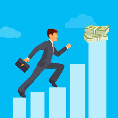 reaches: Business achievement, businessman attains success and reaches his aims, vector flat illustration