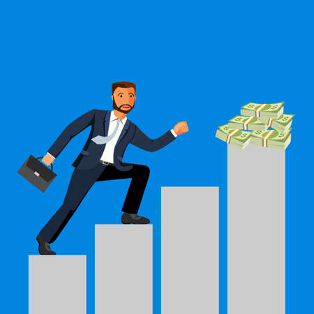 fortunate: Business achievement, businessman attains success and reaches his aims, vector flat illustration