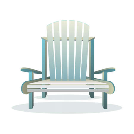 chair wooden: Adirondack wooden chair front, Vector flat illustration