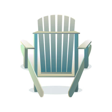 chair wooden: Adirondack wooden chair from the back, Vector flat illustration Illustration