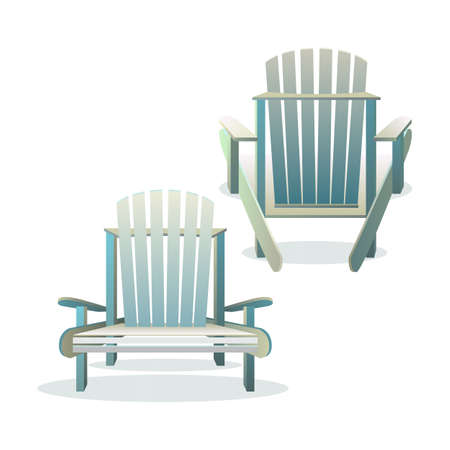 chair wooden: Adirondack wooden chair front and back, Vector flat illustration