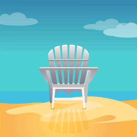 Adirondack chair on the sea beach standing on the yellow sand under the blue cloudy sky, Vector flat illustration