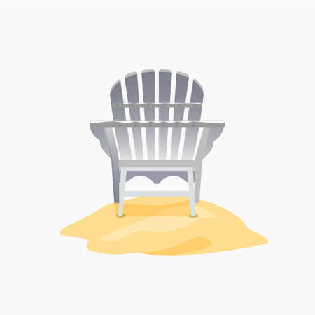 chair wooden: Adirondack chair standing on the yellow sand, Vector flat illustration