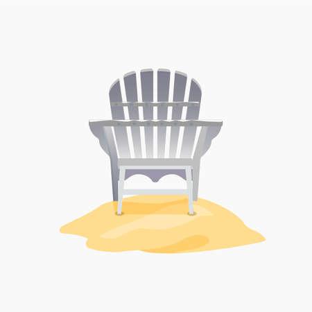 silla de madera: silla de Adirondack de pie sobre la arena amarilla, ilustración vectorial plana Vectores