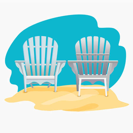yelllow: Adirondack chair standing on the yellow sand under the blue sky, Vector flat illustration
