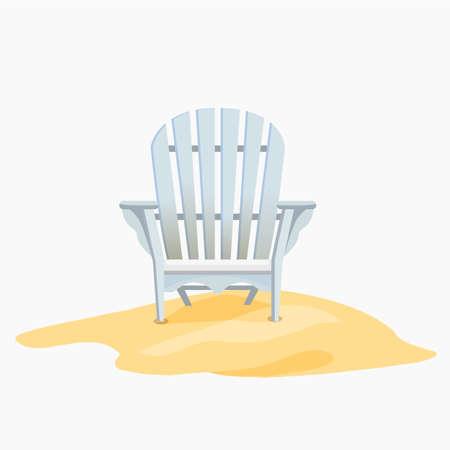 yelllow: Adirondack chair standing on the yellow sand, Vector flat illustration