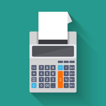 La adición de máquina contadora, colorida ilustración de la calculadora