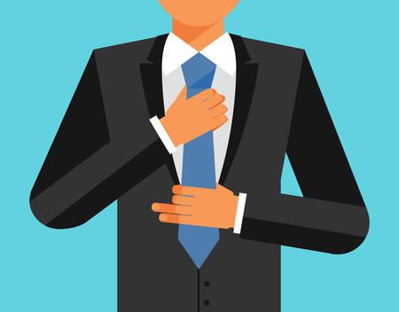 Man in suit is adjusting his tie, vector flat illustration Illustration