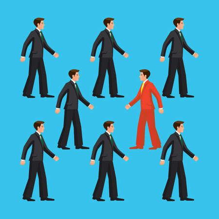 fortaleza: El hombre va en contra flujo común, ilustración vectorial colorido plana