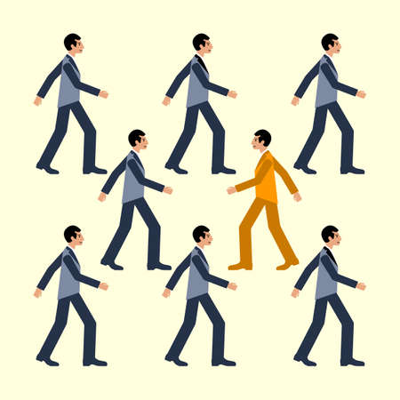 The man is going against common flow, colorful vector flat illustration