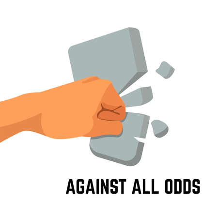 against all odds: The fist is breaking stone to pieces. colorful vector flat illustration Illustration
