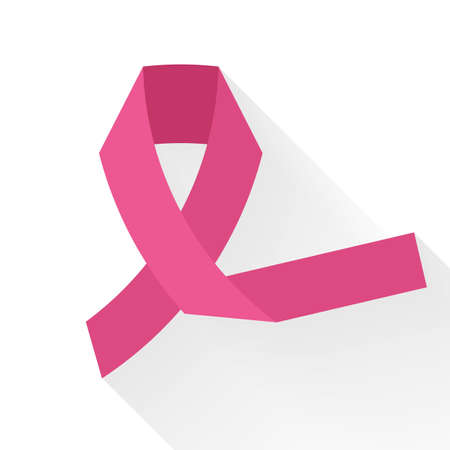 against: Pink ribbon against cancer, colorful vector flat illustration