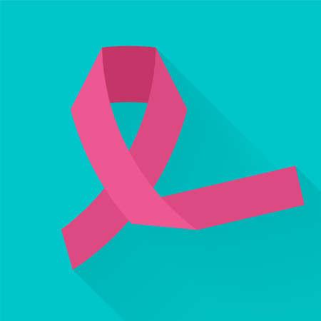 Roze lint tegen kanker, kleurrijke vector flat illustratie