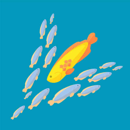 against the current: The fish is swimming against the common current, colorful vector flat illustration
