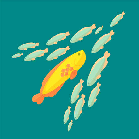 against the flow: The fish is swimming against the common current, colorful vector flat illustration