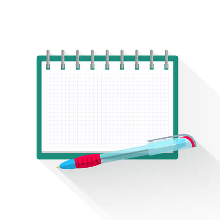 Agenda paper and pen, colorful vector flat illustration
