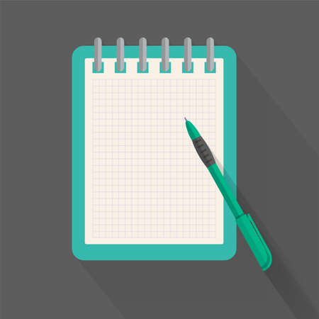 pen and paper: Agenda paper and pen, colorful vector flat illustration