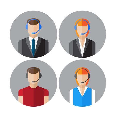callcenter: Set of icons with the callcenter agents talking through headset, colorful flat vector illustration