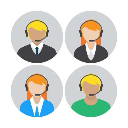 telemarketer: Set of icons with the callcenter agents talking through headset, colorful flat vector illustration
