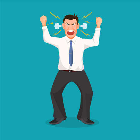 shouting: Woman full of anger is shouting something with aggression, vector colorful flat illustration