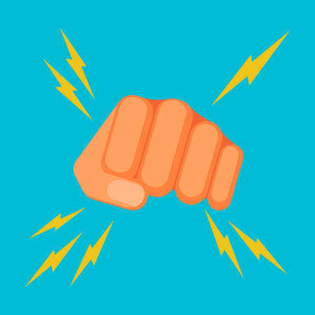 aggression: Kicking fist is symbol of aggression, vector colorful flat illustration
