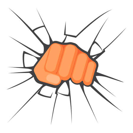 aggression: Kicking fist is breaking the glass is symbol of aggression, vector colorful flat illustration