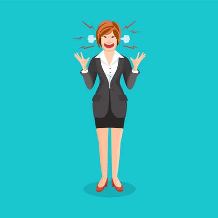 anger: Woman full of anger is shouting something with aggression, vector colorful flat illustration
