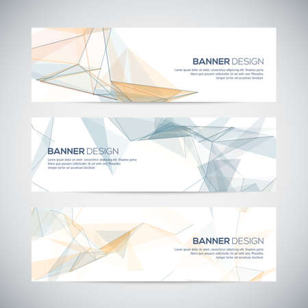 polygons: Banners with abstract colorful triangulated geometric background, vector illustration