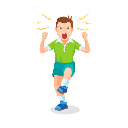 Boy full of anger is shouting something with aggression, vector colorful flat illustration