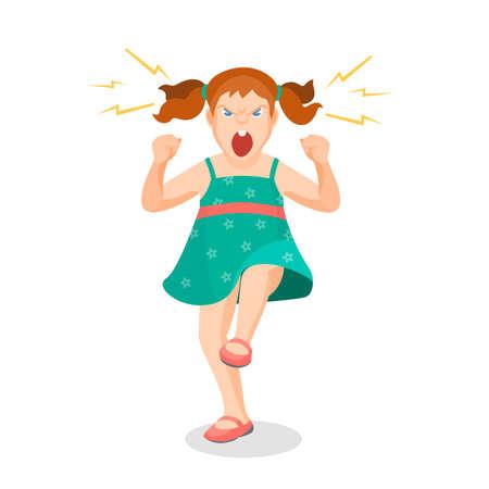 Meisje vol van woede schreeuwt iets met agressie, vector kleurrijke flat illustratie