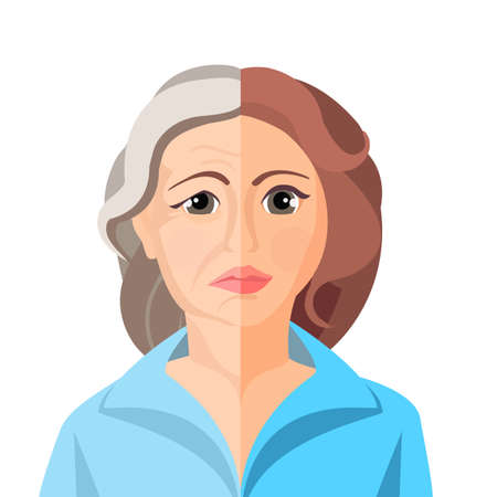 Aging concept portarait showing the process of aging from young to senior, colorful vector flat illustration Иллюстрация