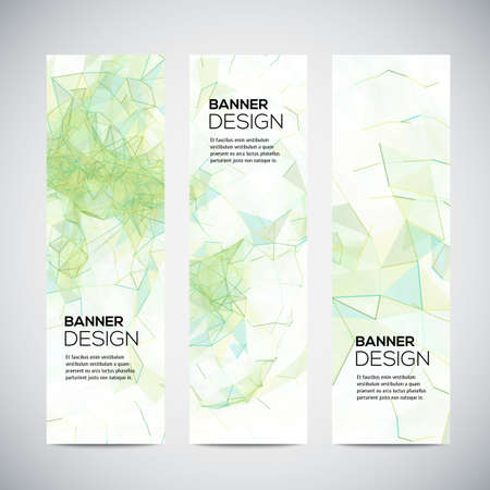 green banner: Banners with abstract colorful triangulated lined geometric background, vector illustration Illustration