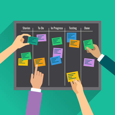 Agility is reached by effective task management with the help of the board, colorful vertor flat illustration